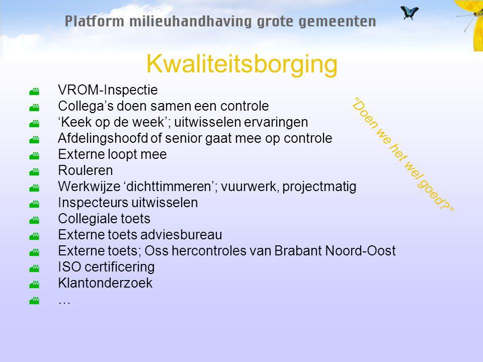 Kwaliteitsborging VROM-Inspectie Collega's doen samen een controle 'Keek op de week'; uitwisselen ervaringen Afdelingshoofd of senior gaat mee op controle Externe loopt mee Rouleren Werkwijze 'dichttimmeren'; vuurwerk, projectmatig Inspecteurs uitwisselen Collegiale toets Externe toets adviesbureau Externe toets; Oss hercontroles van Brabant Noord-Oost ISO certificering Klantonderzoek … Doen we het wel goed