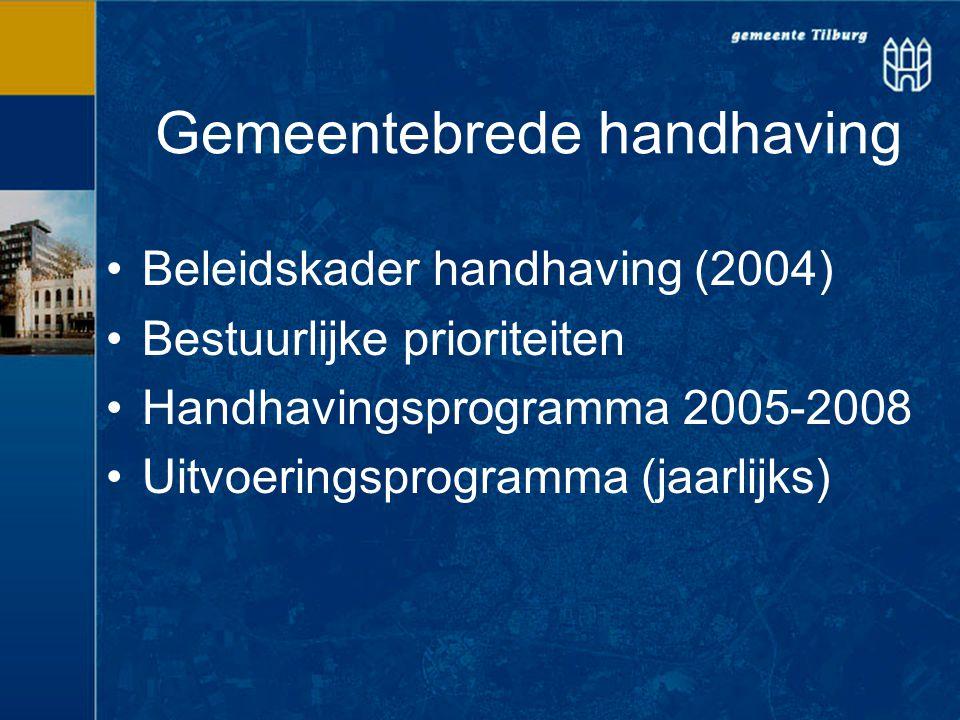Gemeentebrede handhaving Beleidskader handhaving (2004) Bestuurlijke prioriteiten Handhavingsprogramma 2005-2008 Uitvoeringsprogramma (jaarlijks)