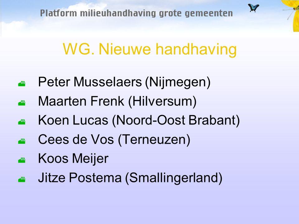 WG. Nieuwe handhaving Peter Musselaers (Nijmegen) Maarten Frenk (Hilversum) Koen Lucas (Noord-Oost Brabant) Cees de Vos (Terneuzen) Koos Meijer Jitze