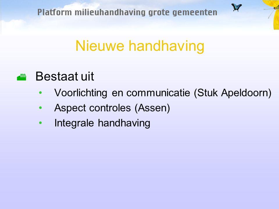 Nieuwe handhaving Bestaat uit Voorlichting en communicatie (Stuk Apeldoorn) Aspect controles (Assen) Integrale handhaving