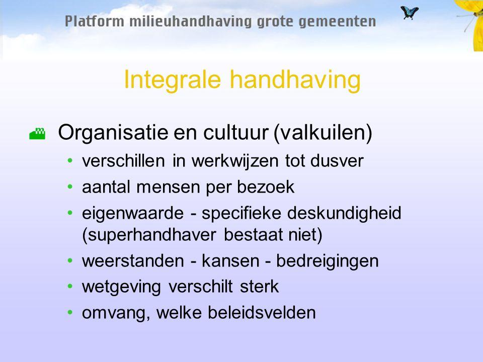 Integrale handhaving Organisatie en cultuur (valkuilen) verschillen in werkwijzen tot dusver aantal mensen per bezoek eigenwaarde - specifieke deskund