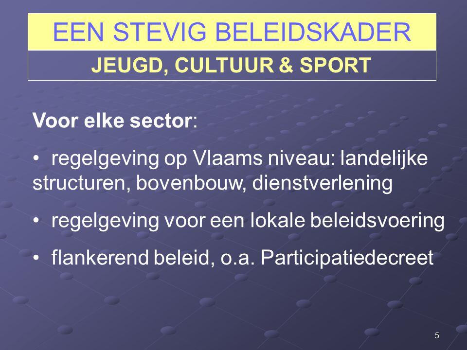 5 EEN STEVIG BELEIDSKADER JEUGD, CULTUUR & SPORT Voor elke sector: regelgeving op Vlaams niveau: landelijke structuren, bovenbouw, dienstverlening regelgeving voor een lokale beleidsvoering flankerend beleid, o.a.