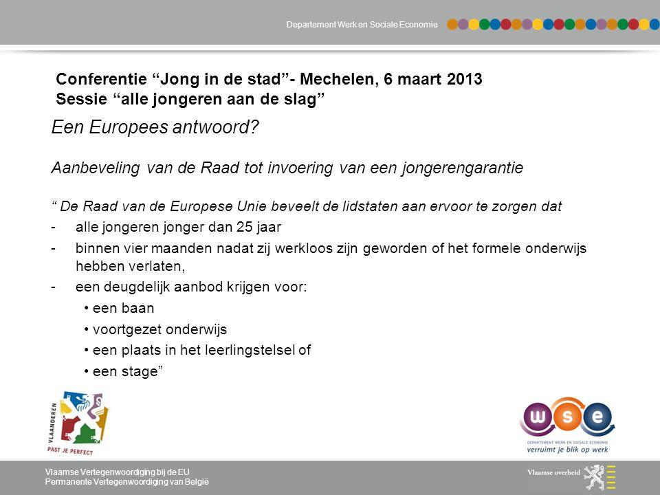 Departement Werk en Sociale Economie Vlaamse Vertegenwoordiging bij de EU Permanente Vertegenwoordiging van België Conferentie Jong in de stad - Mechelen, 6 maart 2013 Sessie alle jongeren aan de slag Een Europees antwoord.