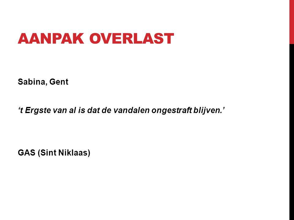 AANPAK OVERLAST Sabina, Gent 't Ergste van al is dat de vandalen ongestraft blijven.' GAS (Sint Niklaas)