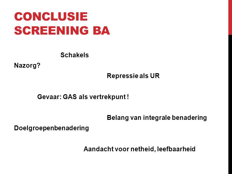 CONCLUSIE SCREENING BA Schakels Nazorg? Repressie als UR Gevaar: GAS als vertrekpunt ! Belang van integrale benadering Doelgroepenbenadering Aandacht