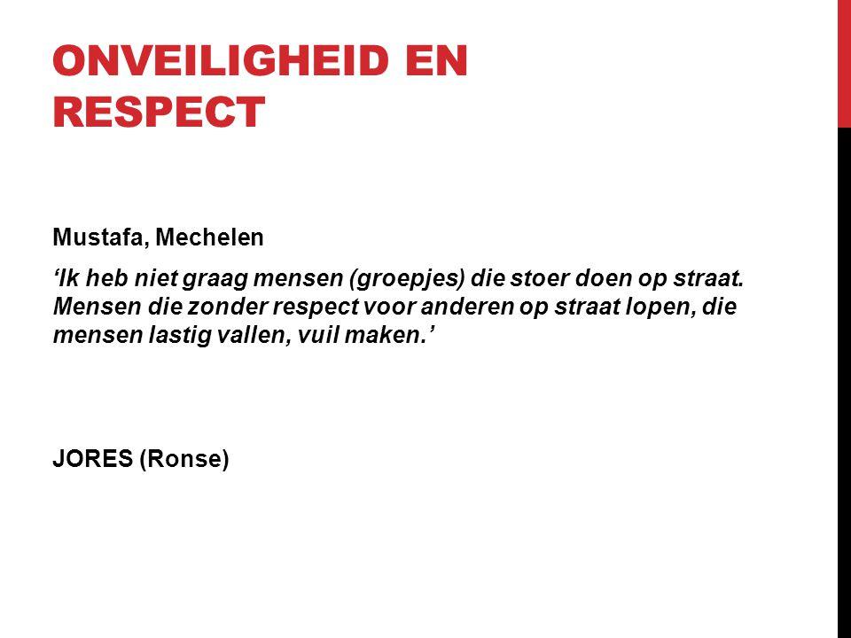 ONVEILIGHEID EN RESPECT Mustafa, Mechelen 'Ik heb niet graag mensen (groepjes) die stoer doen op straat. Mensen die zonder respect voor anderen op str