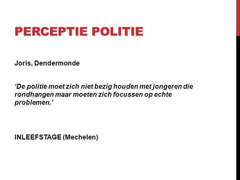 PERCEPTIE POLITIE Joris, Dendermonde 'De politie moet zich niet bezig houden met jongeren die rondhangen maar moeten zich focussen op echte problemen.