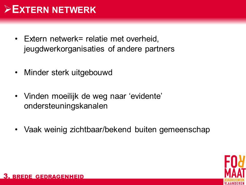 Extern netwerk= relatie met overheid, jeugdwerkorganisaties of andere partners Minder sterk uitgebouwd Vinden moeilijk de weg naar 'evidente' ondersteuningskanalen Vaak weinig zichtbaar/bekend buiten gemeenschap 3.