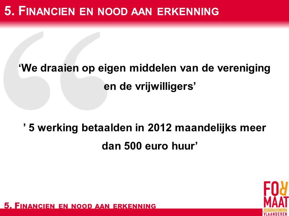 'We draaien op eigen middelen van de vereniging en de vrijwilligers' ' 5 werking betaalden in 2012 maandelijks meer dan 500 euro huur' 5.