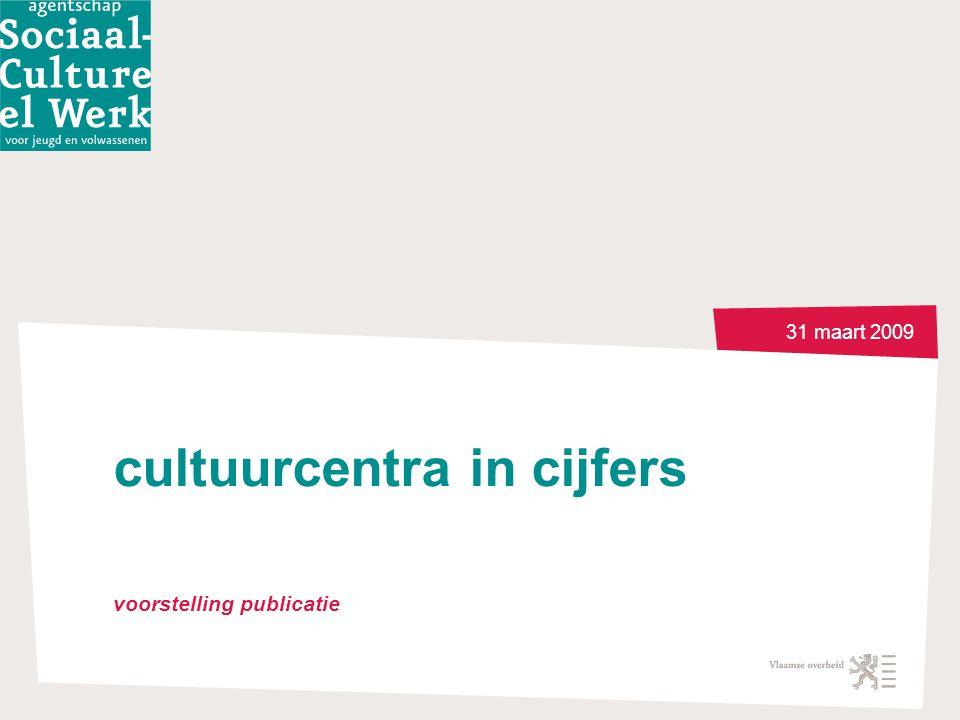 31 maart 2009 cultuurcentra in cijfers voorstelling publicatie