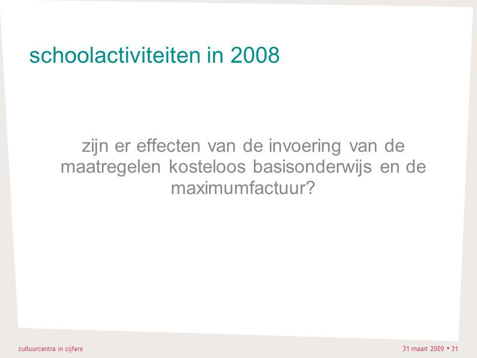 cultuurcentra in cijfers 31 maart 2009 31 schoolactiviteiten in 2008 zijn er effecten van de invoering van de maatregelen kosteloos basisonderwijs en