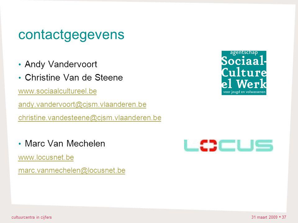 cultuurcentra in cijfers 31 maart 2009 37 contactgegevens Andy Vandervoort Christine Van de Steene www.sociaalcultureel.be andy.vandervoort@cjsm.vlaanderen.be christine.vandesteene@cjsm.vlaanderen.be Marc Van Mechelen www.locusnet.be marc.vanmechelen@locusnet.be