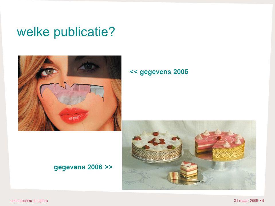 cultuurcentra in cijfers 31 maart 2009 4 welke publicatie? gegevens 2006 >> << gegevens 2005