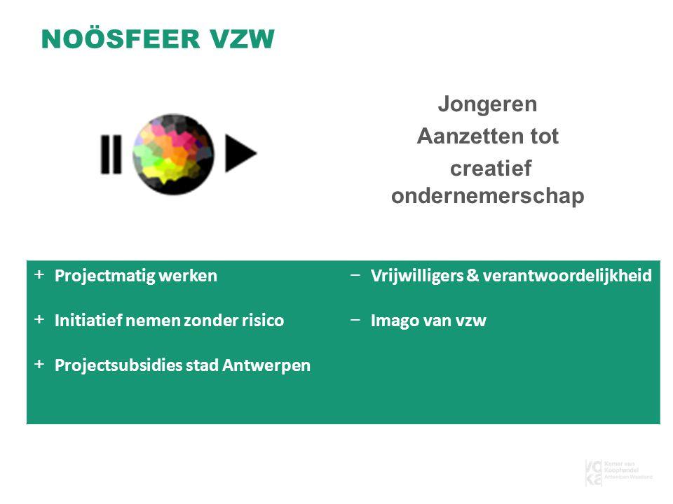 Jongeren Aanzetten tot creatief ondernemerschap NOÖSFEER VZW +Projectmatig werken +Initiatief nemen zonder risico +Projectsubsidies stad Antwerpen −Vrijwilligers & verantwoordelijkheid −Imago van vzw