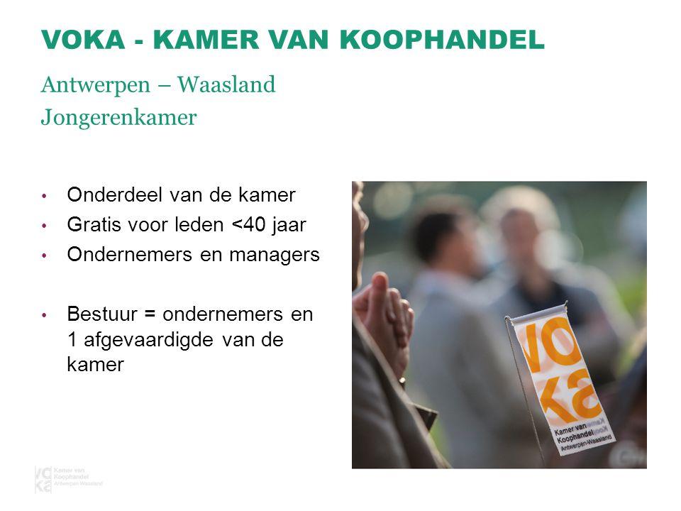 Onderdeel van de kamer Gratis voor leden <40 jaar Ondernemers en managers Bestuur = ondernemers en 1 afgevaardigde van de kamer VOKA - KAMER VAN KOOPHANDEL Antwerpen – Waasland Jongerenkamer