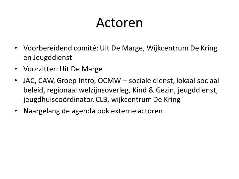 Actoren Voorbereidend comité: Uit De Marge, Wijkcentrum De Kring en Jeugddienst Voorzitter: Uit De Marge JAC, CAW, Groep Intro, OCMW – sociale dienst,