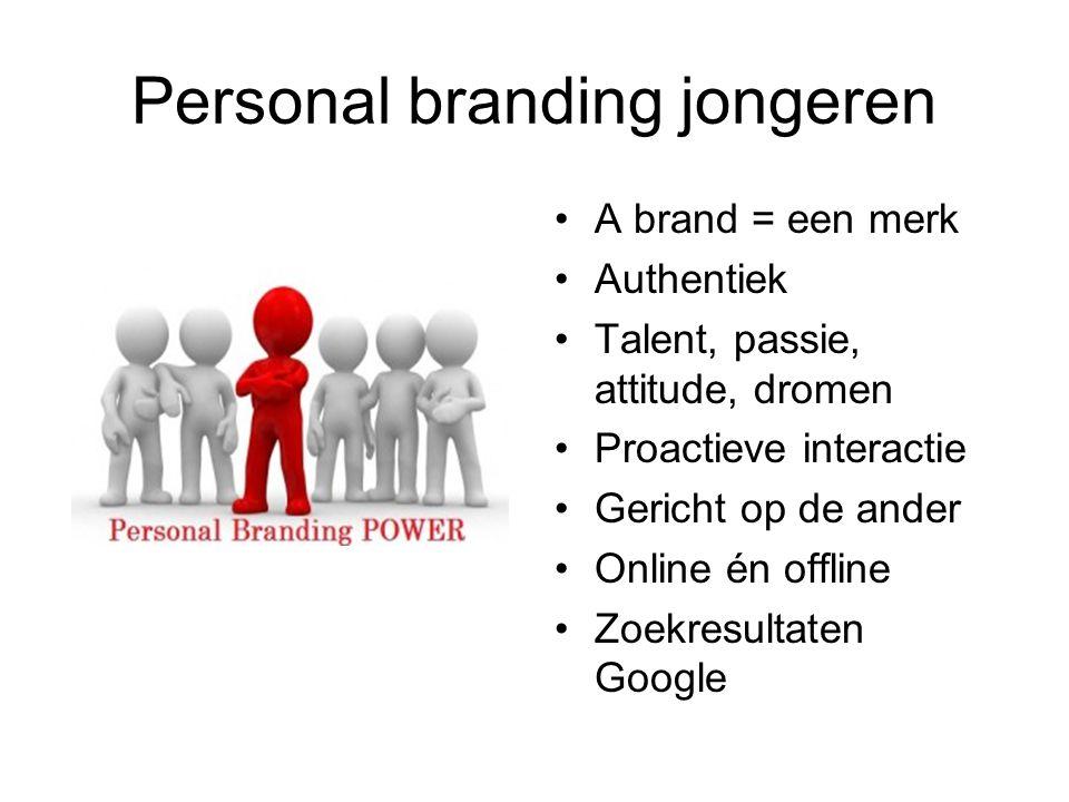 Personal branding jongeren A brand = een merk Authentiek Talent, passie, attitude, dromen Proactieve interactie Gericht op de ander Online én offline Zoekresultaten Google
