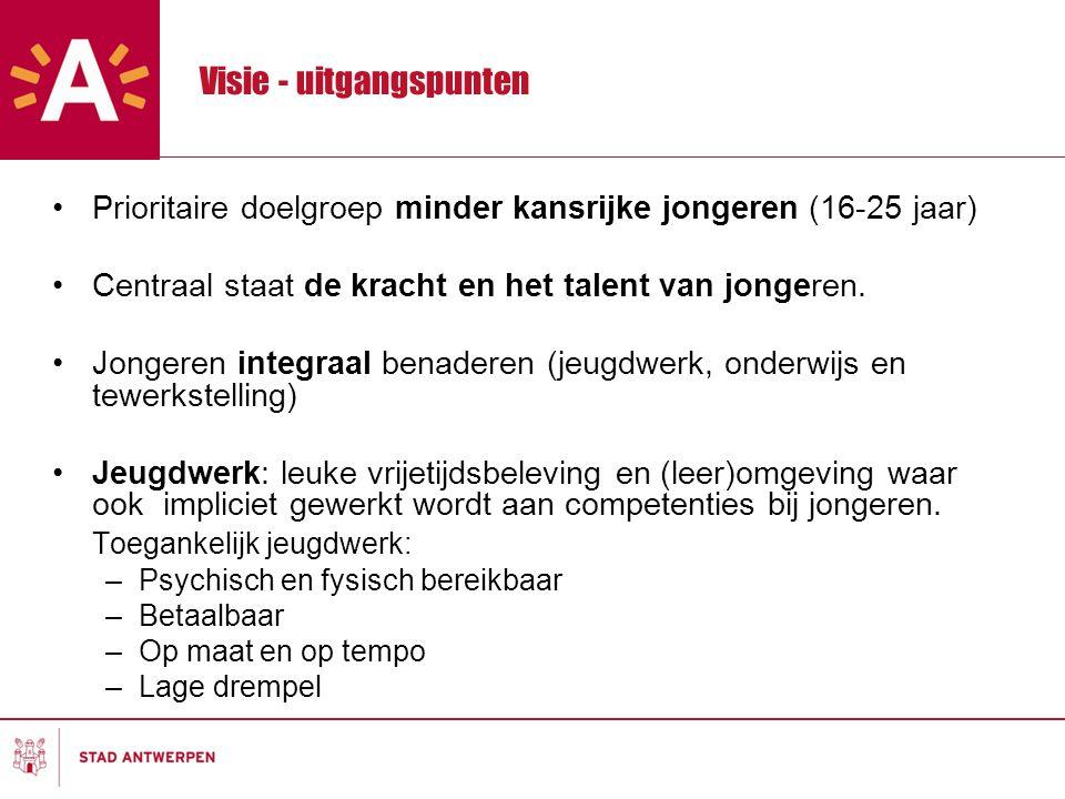 Visie - uitgangspunten Prioritaire doelgroep minder kansrijke jongeren (16-25 jaar) Centraal staat de kracht en het talent van jongeren.