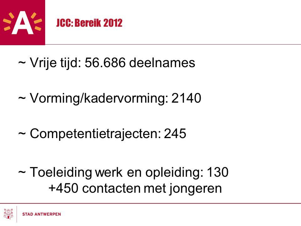 JCC: Bereik 2012 ~ Vrije tijd: 56.686 deelnames ~ Vorming/kadervorming: 2140 ~ Competentietrajecten: 245 ~ Toeleiding werk en opleiding: 130 +450 contacten met jongeren