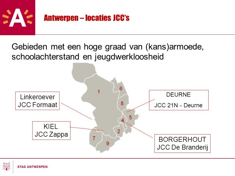 Antwerpen – locaties JCC's DEURNE JCC 21N - Deurne BORGERHOUT JCC De Branderij KIEL JCC Zappa Linkeroever JCC Formaat Gebieden met een hoge graad van (kans)armoede, schoolachterstand en jeugdwerkloosheid