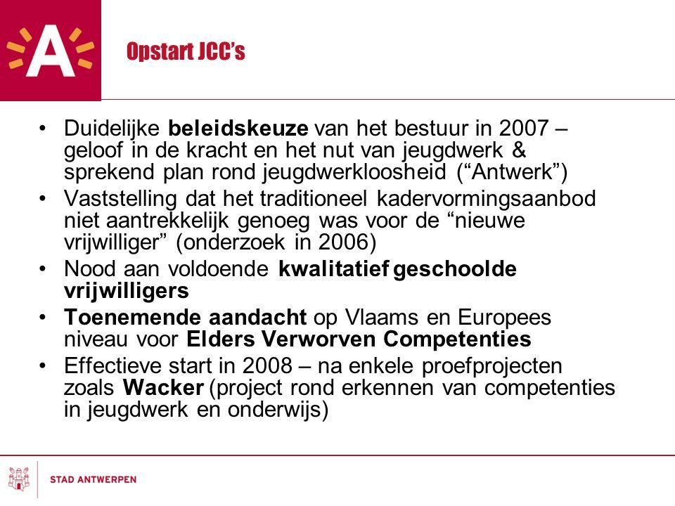 Opstart JCC's Duidelijke beleidskeuze van het bestuur in 2007 – geloof in de kracht en het nut van jeugdwerk & sprekend plan rond jeugdwerkloosheid ( Antwerk ) Vaststelling dat het traditioneel kadervormingsaanbod niet aantrekkelijk genoeg was voor de nieuwe vrijwilliger (onderzoek in 2006) Nood aan voldoende kwalitatief geschoolde vrijwilligers Toenemende aandacht op Vlaams en Europees niveau voor Elders Verworven Competenties Effectieve start in 2008 – na enkele proefprojecten zoals Wacker (project rond erkennen van competenties in jeugdwerk en onderwijs)