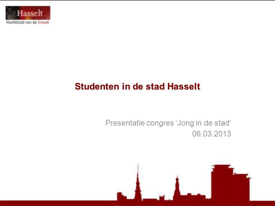 Studenten in de stad Hasselt Presentatie congres 'Jong in de stad' 06.03.2013