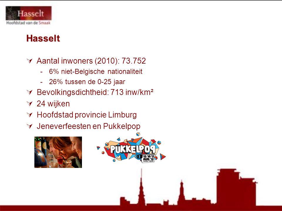 Hasselt  Aantal inwoners (2010): 73.752 -6% niet-Belgische nationaliteit -26% tussen de 0-25 jaar  Bevolkingsdichtheid: 713 inw/km²  24 wijken  Hoofdstad provincie Limburg  Jeneverfeesten en Pukkelpop