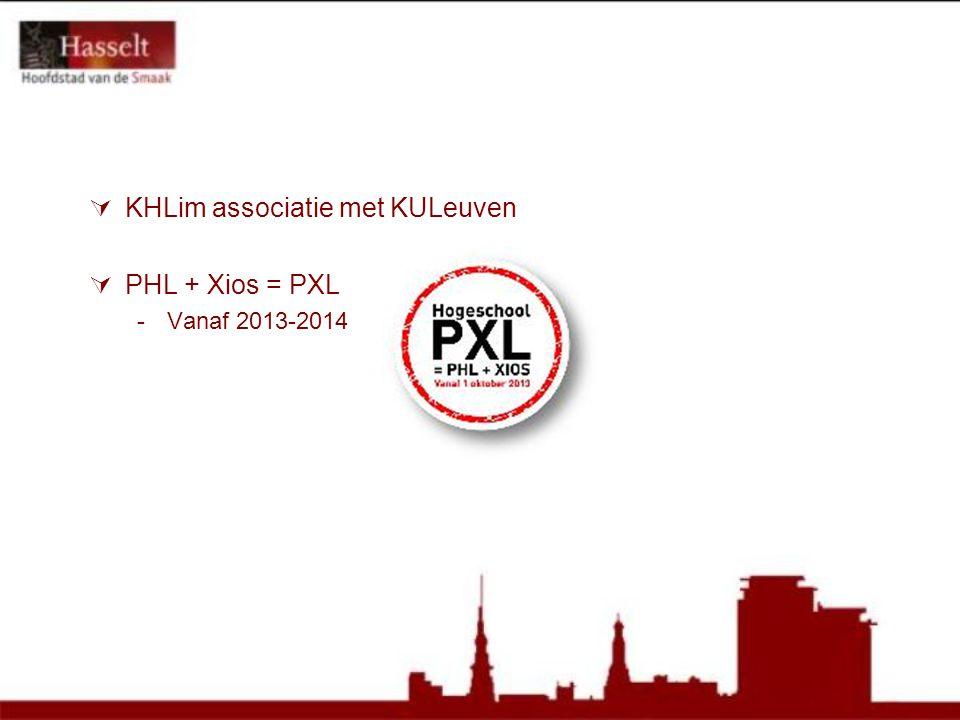  KHLim associatie met KULeuven  PHL + Xios = PXL -Vanaf 2013-2014