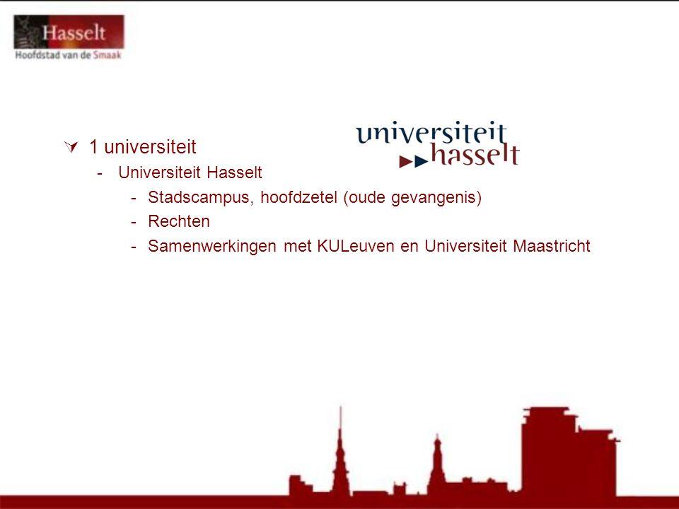  1 universiteit -Universiteit Hasselt -Stadscampus, hoofdzetel (oude gevangenis) -Rechten -Samenwerkingen met KULeuven en Universiteit Maastricht