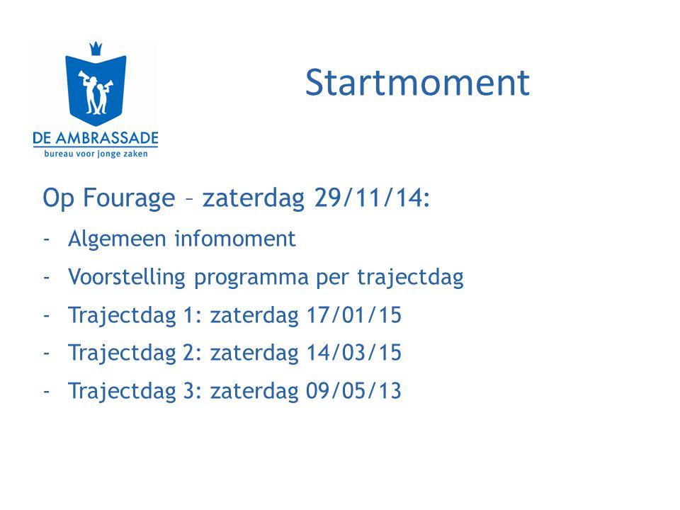 Startmoment Op Fourage – zaterdag 29/11/14: -Algemeen infomoment -Voorstelling programma per trajectdag -Trajectdag 1: zaterdag 17/01/15 -Trajectdag 2: zaterdag 14/03/15 -Trajectdag 3: zaterdag 09/05/13