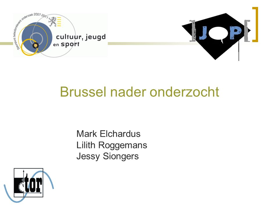 Brussel nader onderzocht Mark Elchardus Lilith Roggemans Jessy Siongers