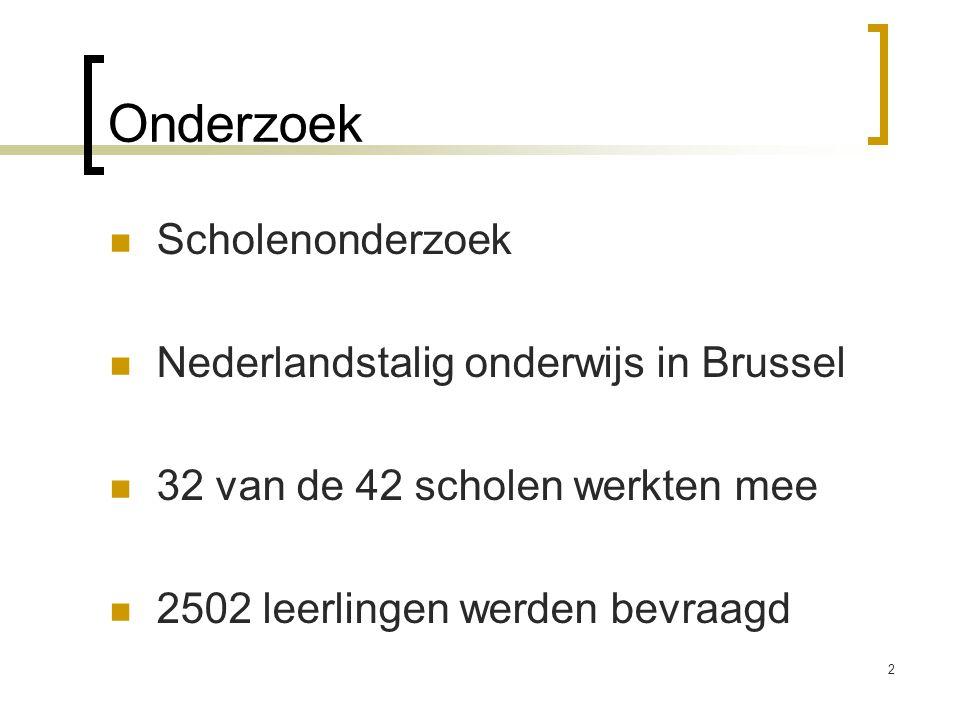 Onderzoek Scholenonderzoek Nederlandstalig onderwijs in Brussel 32 van de 42 scholen werkten mee 2502 leerlingen werden bevraagd 2