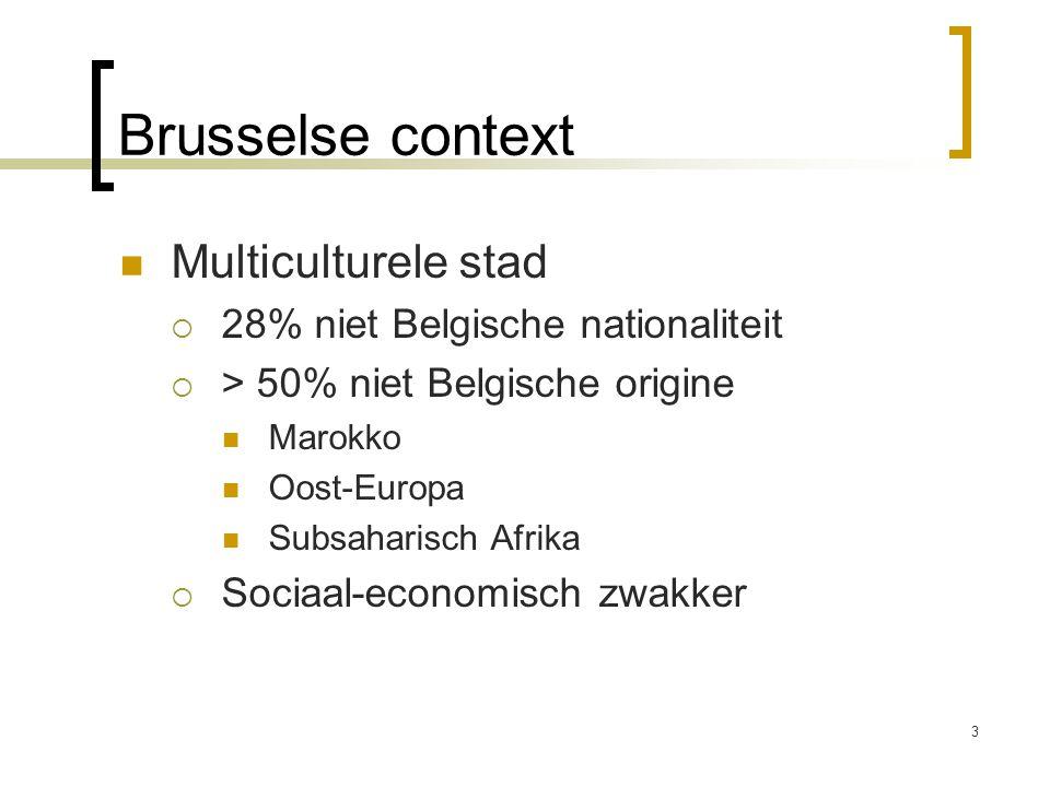 Brusselse context Multiculturele stad  28% niet Belgische nationaliteit  > 50% niet Belgische origine Marokko Oost-Europa Subsaharisch Afrika  Soci