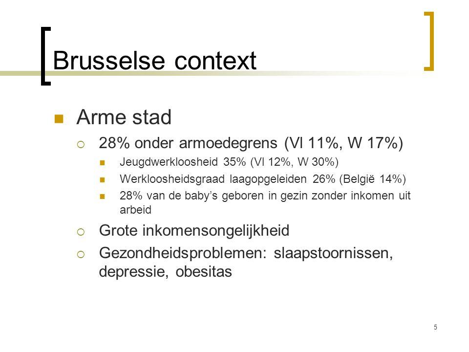 Brusselse context Arme stad  28% onder armoedegrens (Vl 11%, W 17%) Jeugdwerkloosheid 35% (Vl 12%, W 30%) Werkloosheidsgraad laagopgeleiden 26% (Belg