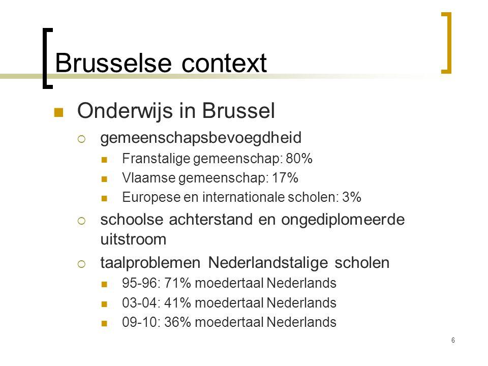 Brusselse context Onderwijs in Brussel  gemeenschapsbevoegdheid Franstalige gemeenschap: 80% Vlaamse gemeenschap: 17% Europese en internationale scho