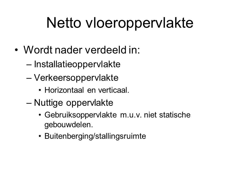 Netto vloeroppervlakte Wordt nader verdeeld in: –Installatieoppervlakte –Verkeersoppervlakte Horizontaal en verticaal.