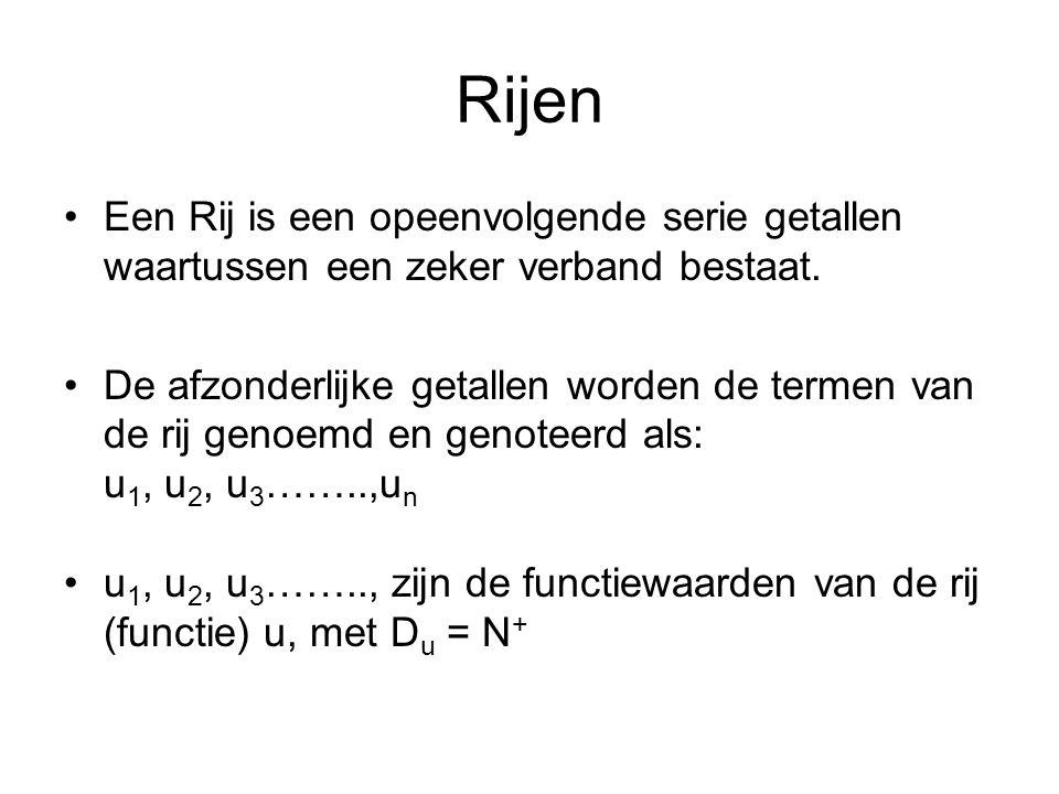 Rijen Een Rij is een opeenvolgende serie getallen waartussen een zeker verband bestaat.