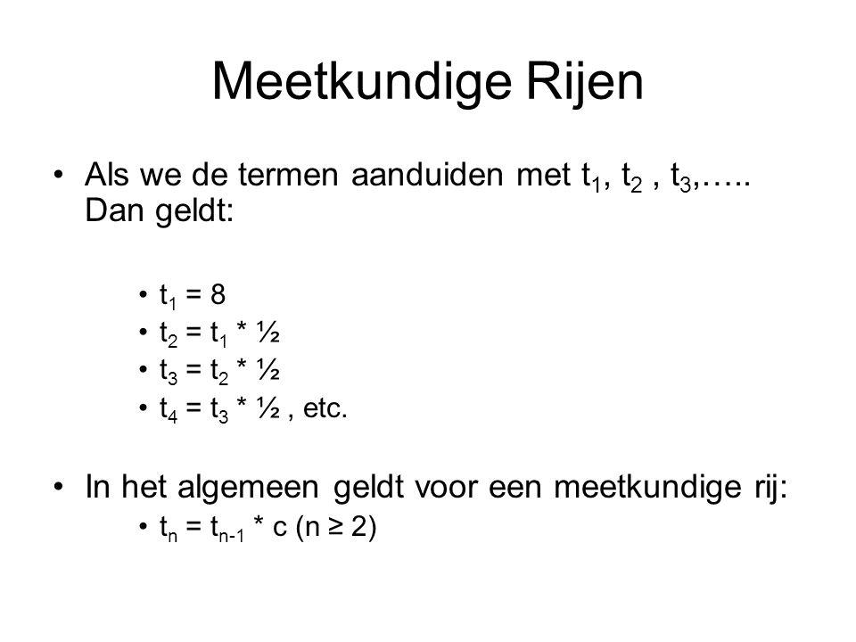 Meetkundige Rijen Als we de termen aanduiden met t 1, t 2, t 3,…..