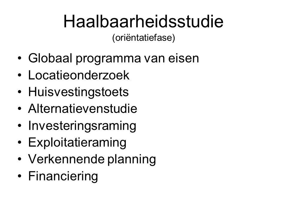 Haalbaarheidsstudie (oriëntatiefase) Globaal programma van eisen Locatieonderzoek Huisvestingstoets Alternatievenstudie Investeringsraming Exploitatie
