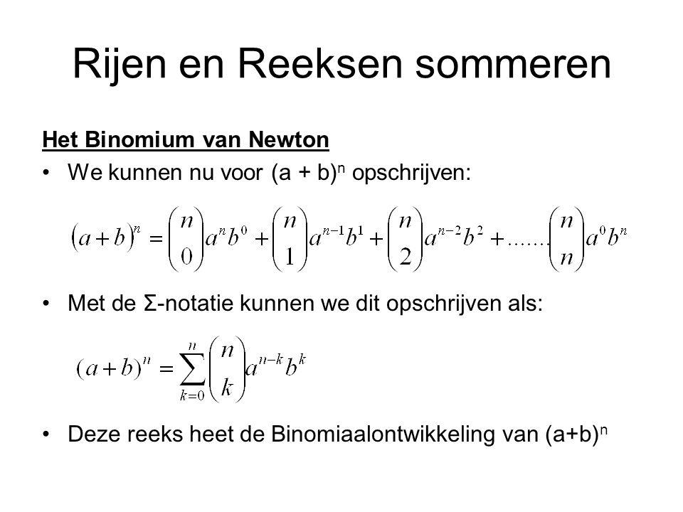 Rijen en Reeksen sommeren Het Binomium van Newton We kunnen nu voor (a + b) n opschrijven: Met de Ʃ-notatie kunnen we dit opschrijven als: Deze reeks