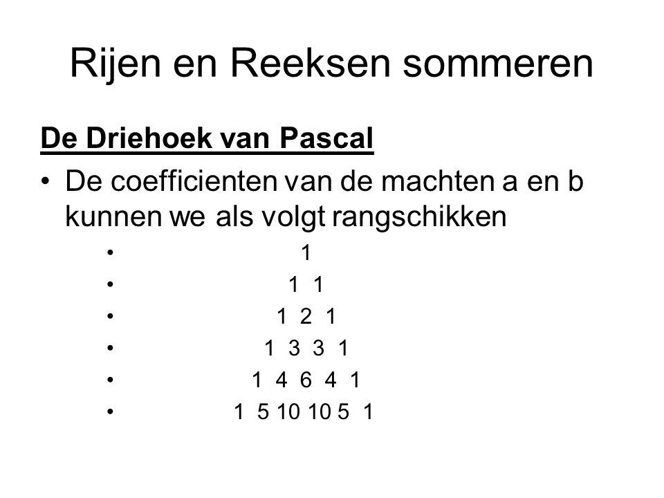 Rijen en Reeksen sommeren De Driehoek van Pascal De coefficienten van de machten a en b kunnen we als volgt rangschikken 1 1 1 1 2 1 1 3 3 1 1 4 6 4 1