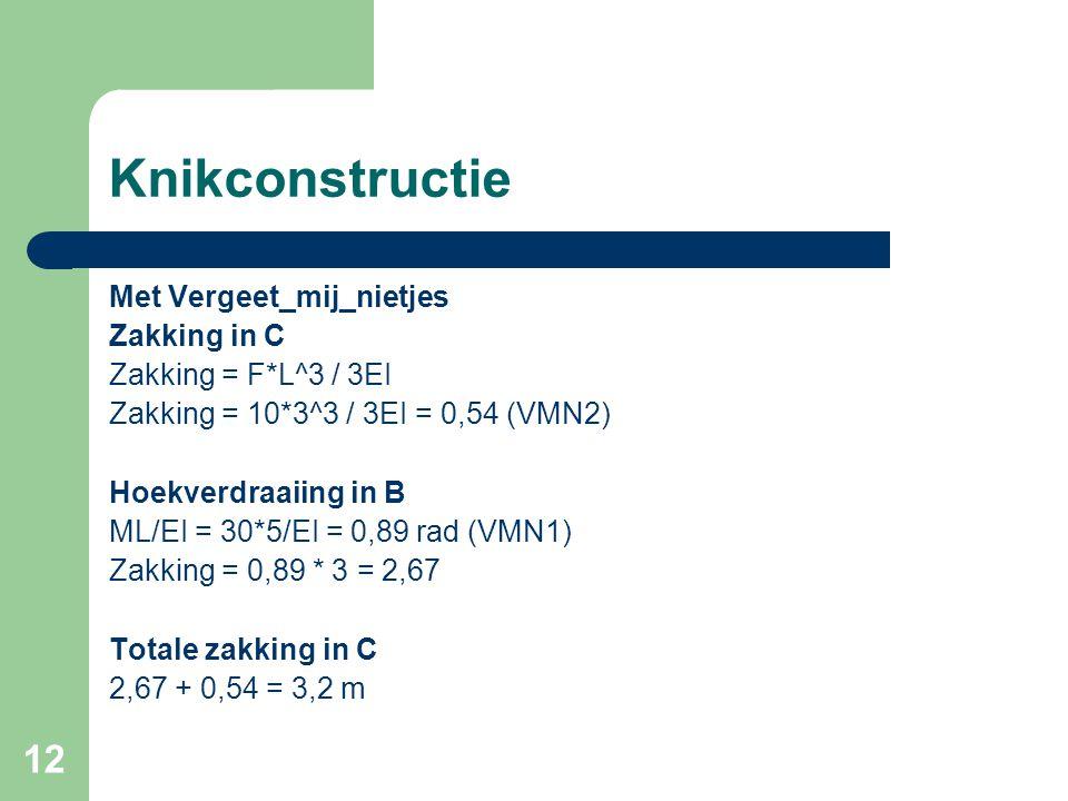 12 Knikconstructie Met Vergeet_mij_nietjes Zakking in C Zakking = F*L^3 / 3EI Zakking = 10*3^3 / 3EI = 0,54 (VMN2) Hoekverdraaiing in B ML/EI = 30*5/E