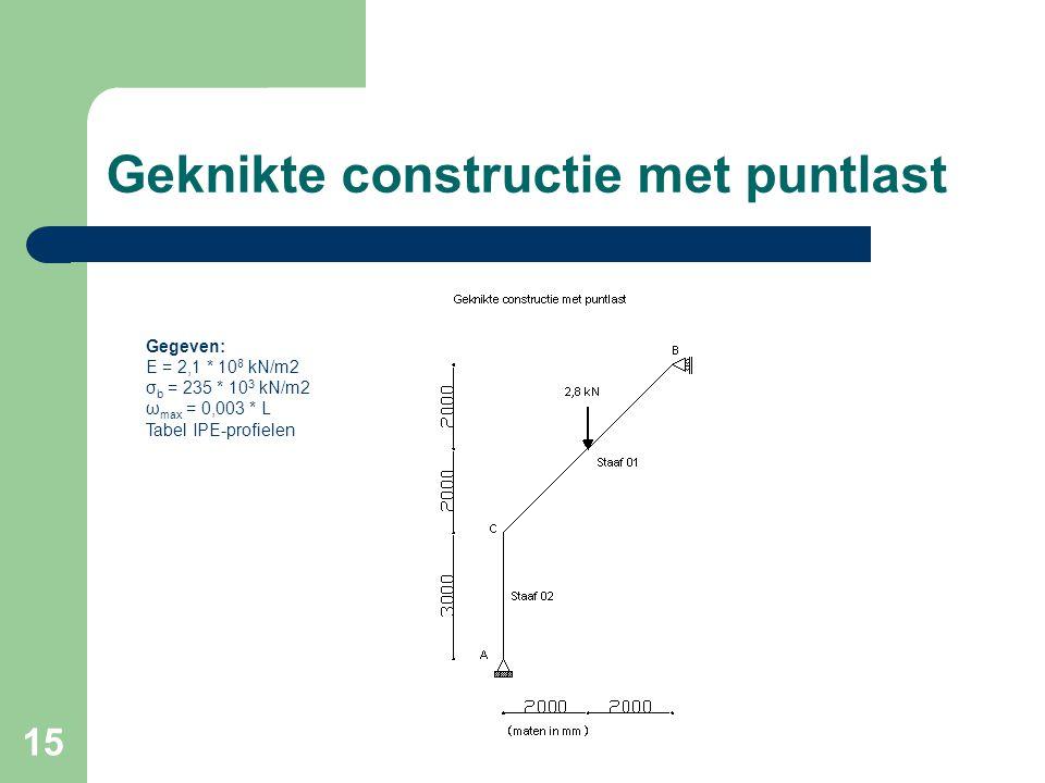15 Geknikte constructie met puntlast Gegeven: E = 2,1 * 10 8 kN/m2 σ b = 235 * 10 3 kN/m2 ω max = 0,003 * L Tabel IPE-profielen