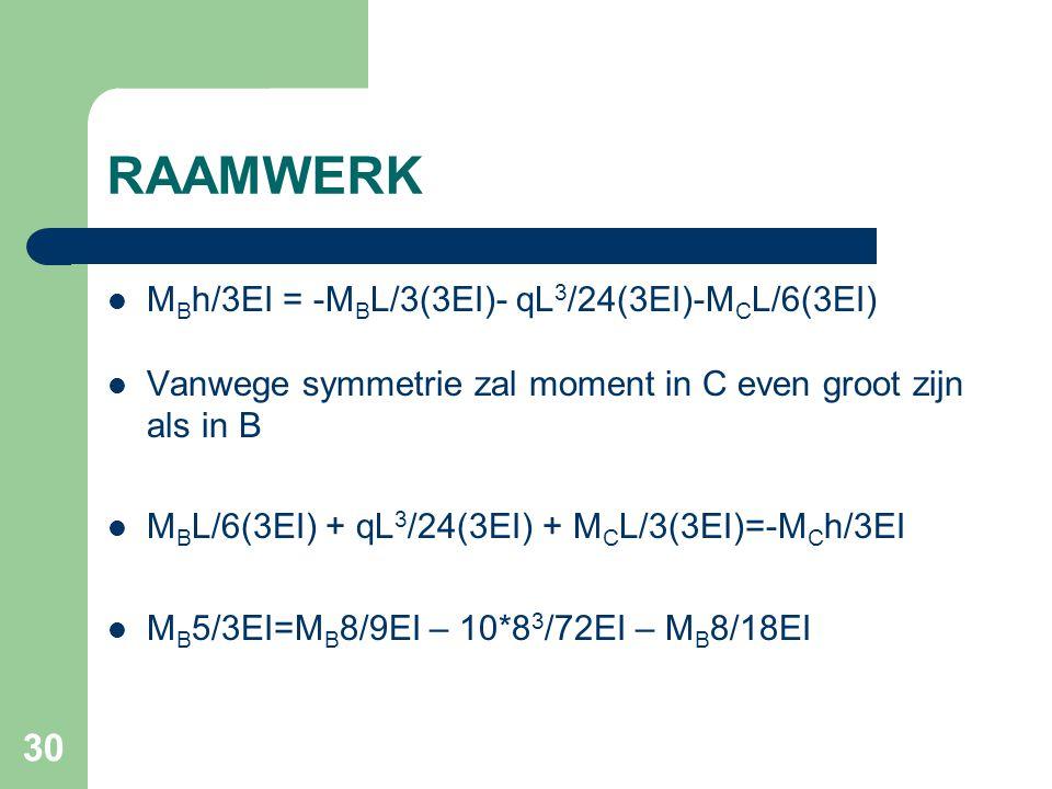 30 RAAMWERK M B h/3EI = -M B L/3(3EI)- qL 3 /24(3EI)-M C L/6(3EI) Vanwege symmetrie zal moment in C even groot zijn als in B M B L/6(3EI) + qL 3 /24(3