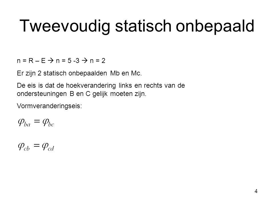 4 Tweevoudig statisch onbepaald n = R – E  n = 5 -3  n = 2 Er zijn 2 statisch onbepaalden Mb en Mc.