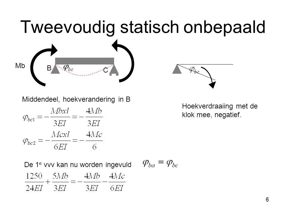 6 Tweevoudig statisch onbepaald C B Mb Middendeel, hoekverandering in B Hoekverdraaiing met de klok mee, negatief.