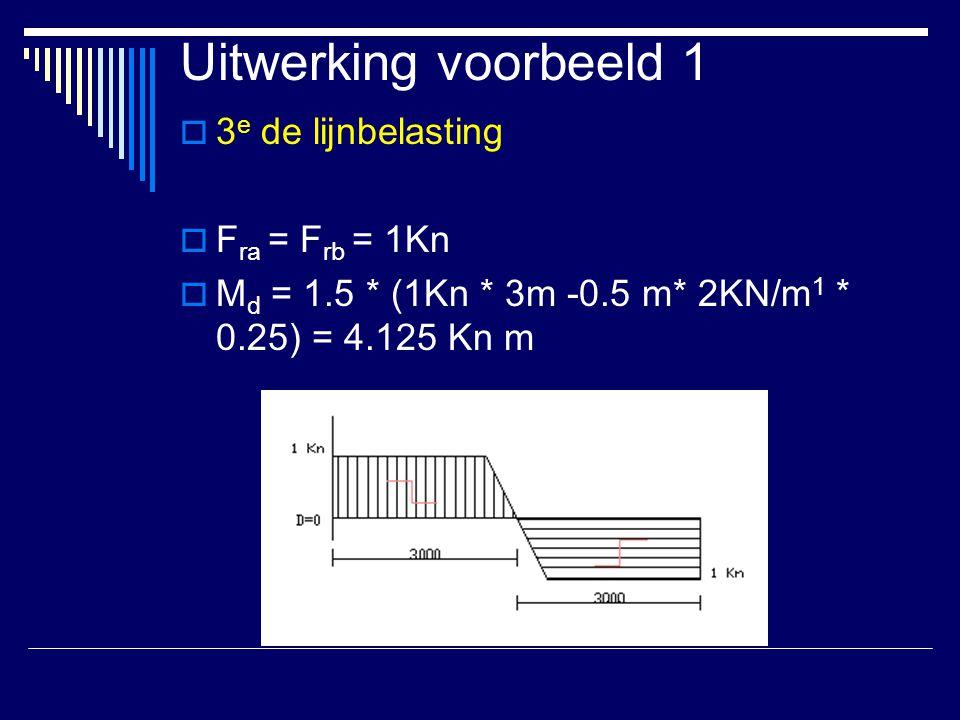 Uitwerking voorbeeld 1  3 e de lijnbelasting  F ra = F rb = 1Kn  M d = 1.5 * (1Kn * 3m -0.5 m* 2KN/m 1 * 0.25) = 4.125 Kn m