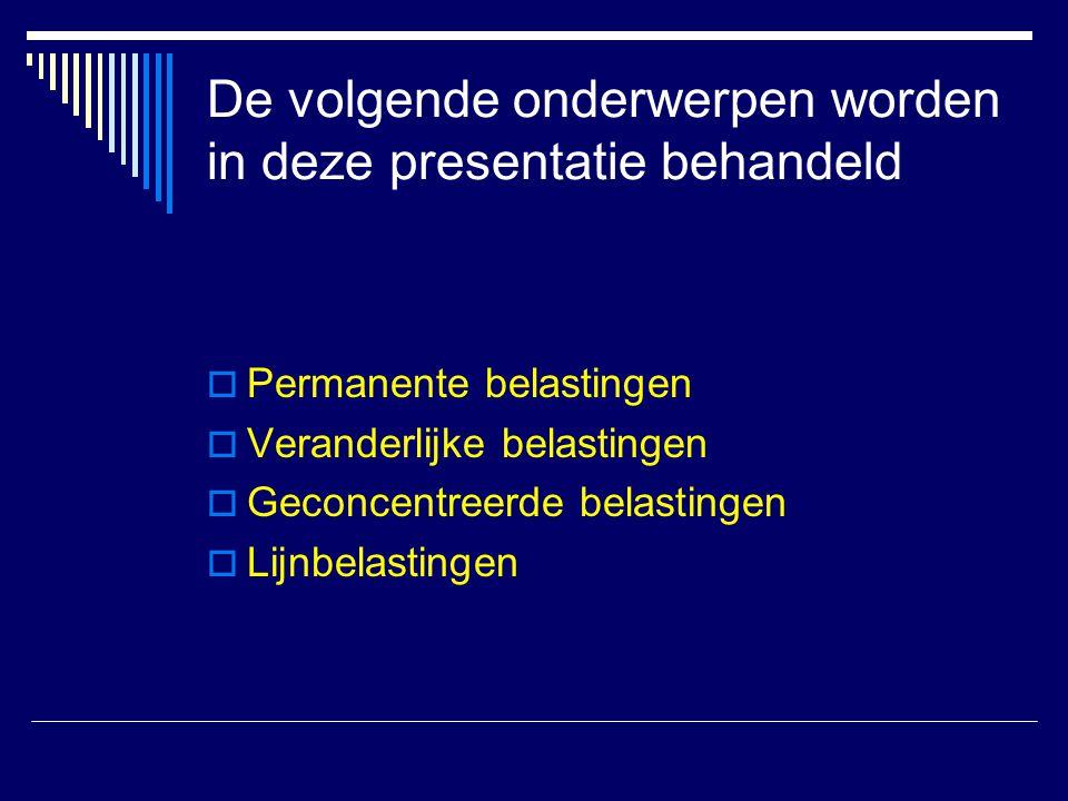 De volgende onderwerpen worden in deze presentatie behandeld  Permanente belastingen  Veranderlijke belastingen  Geconcentreerde belastingen  Lijn