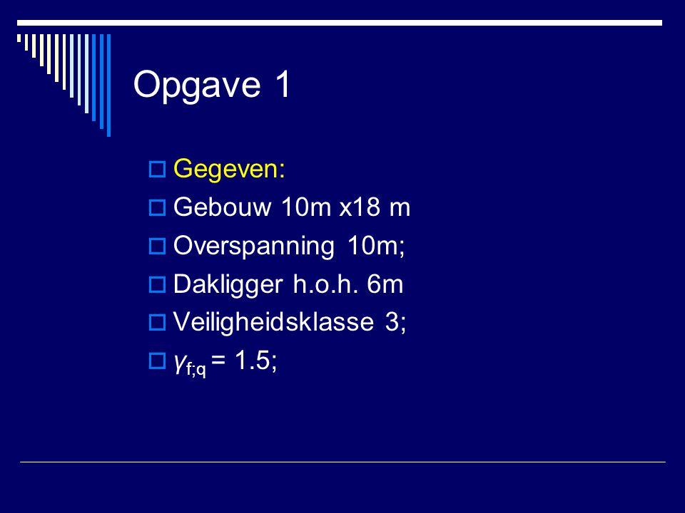 Opgave 1  Gegeven:  Gebouw 10m x18 m  Overspanning 10m;  Dakligger h.o.h. 6m  Veiligheidsklasse 3;  γ f;q = 1.5;