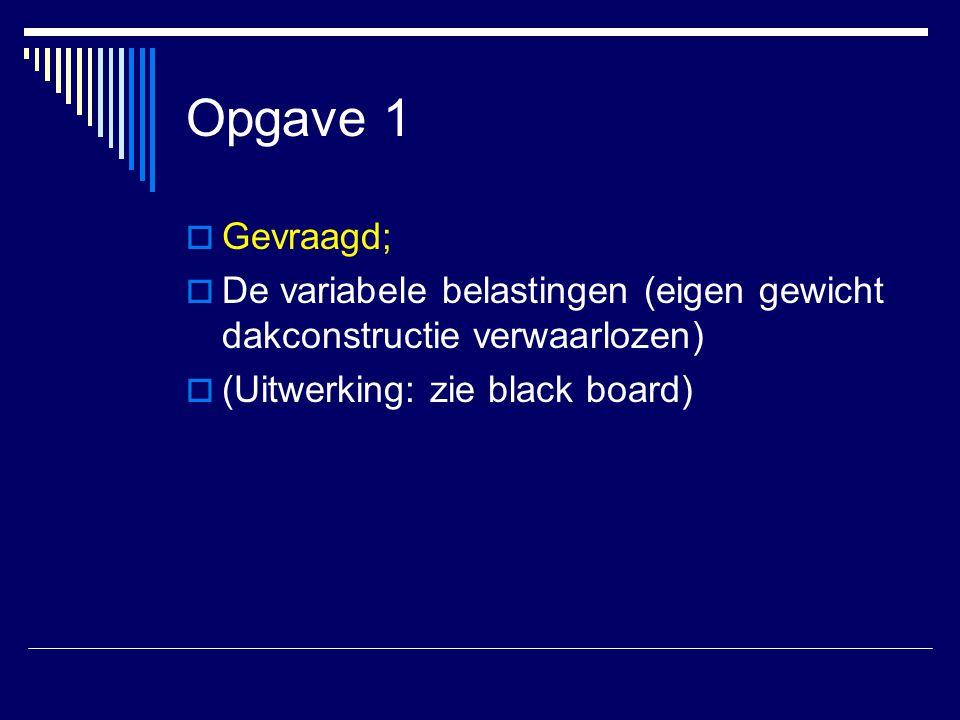  Gevraagd;  De variabele belastingen (eigen gewicht dakconstructie verwaarlozen)  (Uitwerking: zie black board)